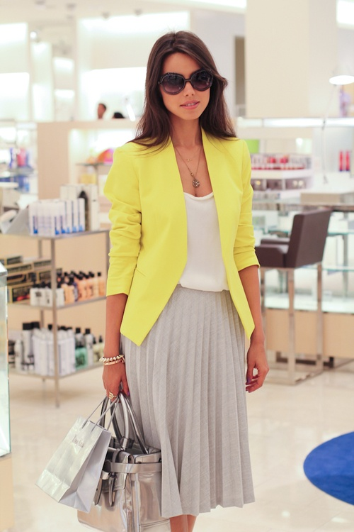 yellow blazer, grey skirt, white shirt. blazer with pleated skirt
