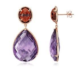 Oval Garnet and Pear Shaped Amethyst Earrings in 14k Rose Gold