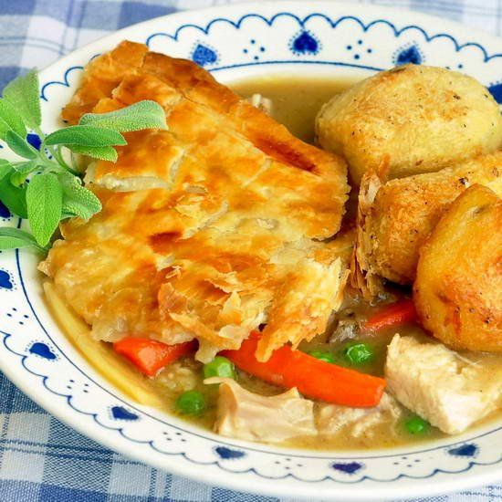 ***Easy Turkey Pot Pie: 3 cups sauteed veggies (onions, celery, carrots) add minced garlic at the end, toss in 1.5 to 2 lbs of chopped leftover turkey. Transfer to casserole dish, cover with cold gravy, top with crescent rolls. Bake 375° for 25 to 30 minutes.... Excellent thanksgiving leftover recipe... Delicious... 5 out of 5...K