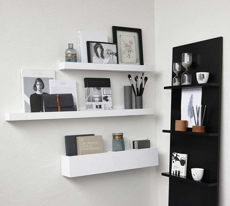 NEW IN! White wood shelves for art frames, books or decorative objects – Mink Interiors From £20 Available in 3 sizes: 60 x 11 x 8cm 80 x 11 x 8 cm 120 x 11 x 8cm Finish: painted, matt, white.  The lifestyle photo displays the 60cm and 80cm shelf.