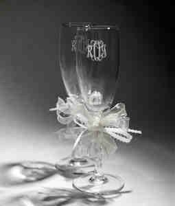 Set of 2  Engraved Champagne Flutes, Wedding Flutes with Monogram available at Takeitpersonalplease on Etsy