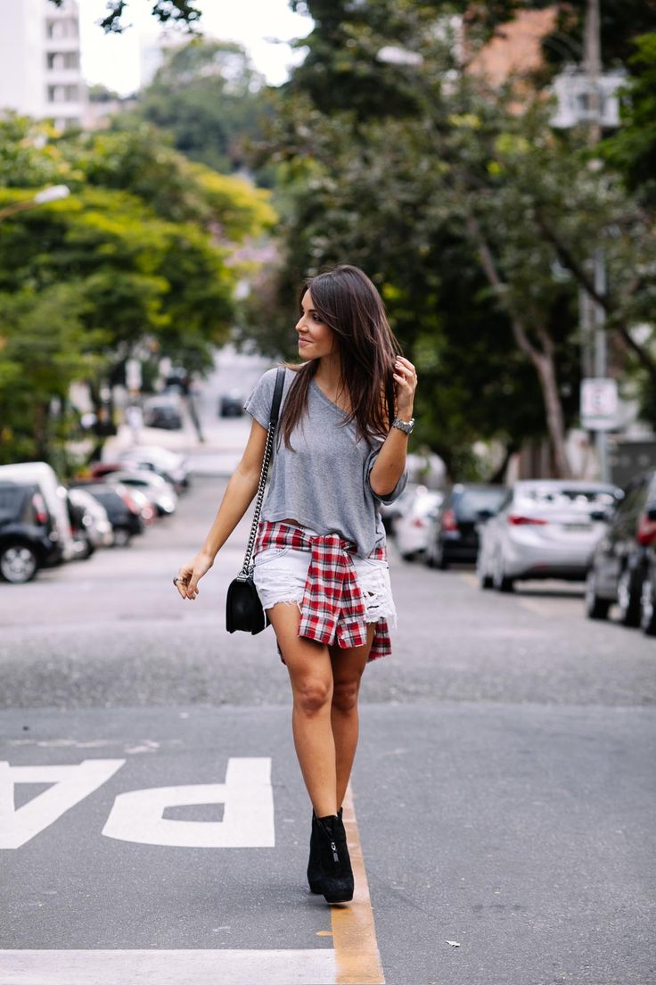 Look Camisa Xadrez Carol Rache: