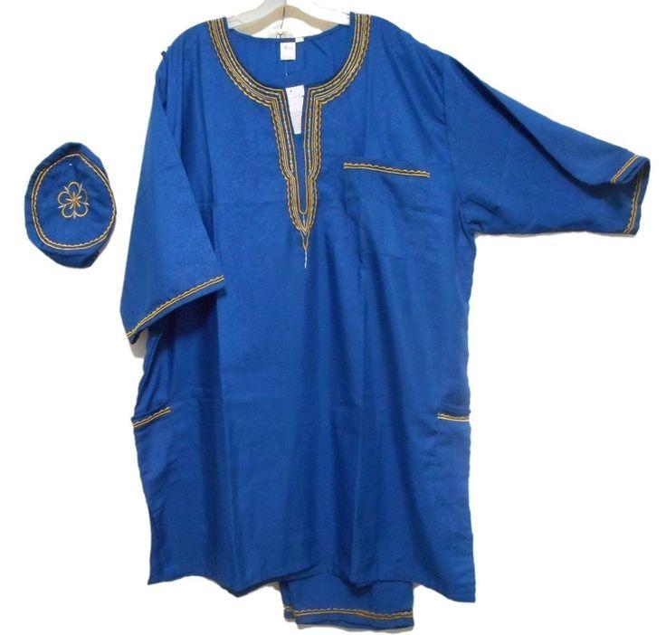African Suit Ethnic Men Pant Suit Traditional Cultural Pant Suit 1Size Blue Gold #Handmade #TraditionalPantSuit