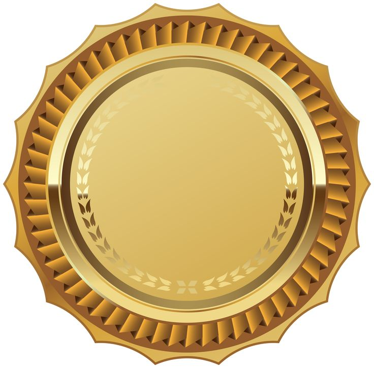 Gold Seal with Ribbon PNG Clipart Image