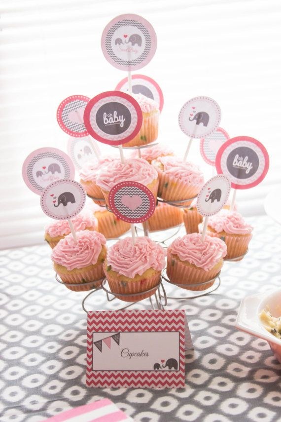 oh baby elephant baby shower cupcake toppers pink and grey baby girl shower ideas