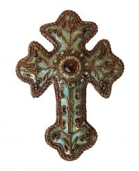 Turquoise Brocade Cross Christmas Decoration - CATHEDRAL - Christmas Decorations