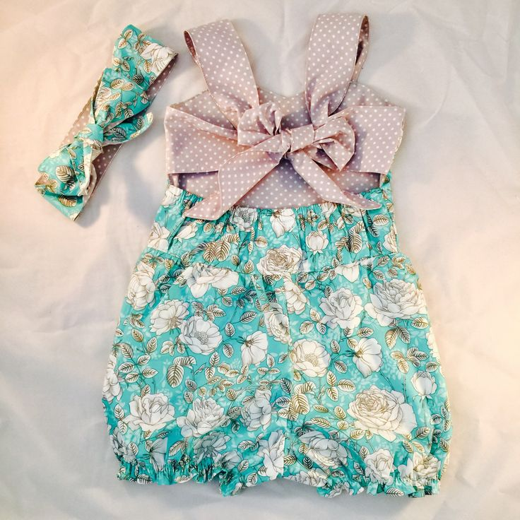 Hand made floral Romper and headscarf