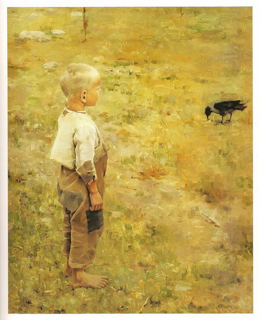Painting by Gallen-Kallela, Akseli (1865-1931) - 1884 Boy With a Crow (Ateneum Art Museum, Helsinki, Finland) (pin from RasMarley's Flickr)