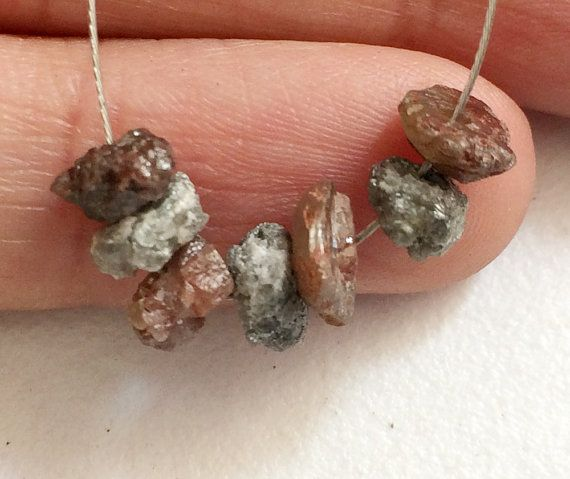 Large Hole Grey & Brown Rough Diamond Beads 1mm by gemsforjewels