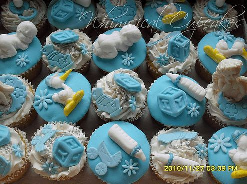 Whimsical Boy Baby Shower cupcakes