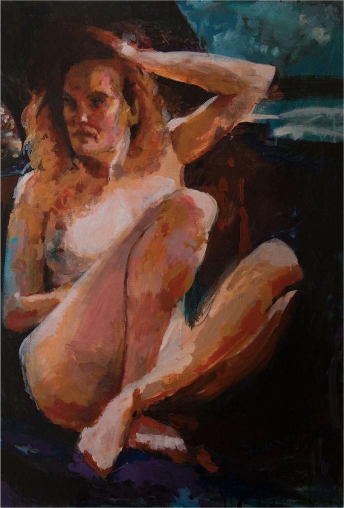 Schilderij 'Anke'. 70 x 100 cm € 2.495,- Actrice Anke Engels poseerde naakt in een cabrio.