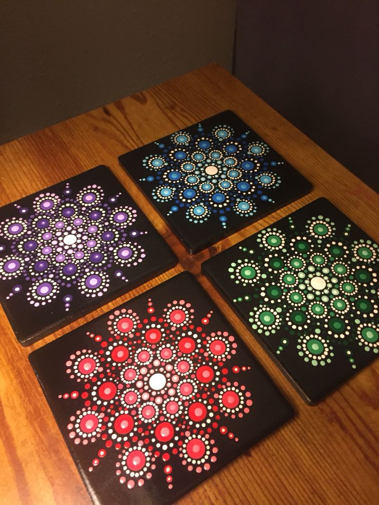 Hand painted mandala coasters