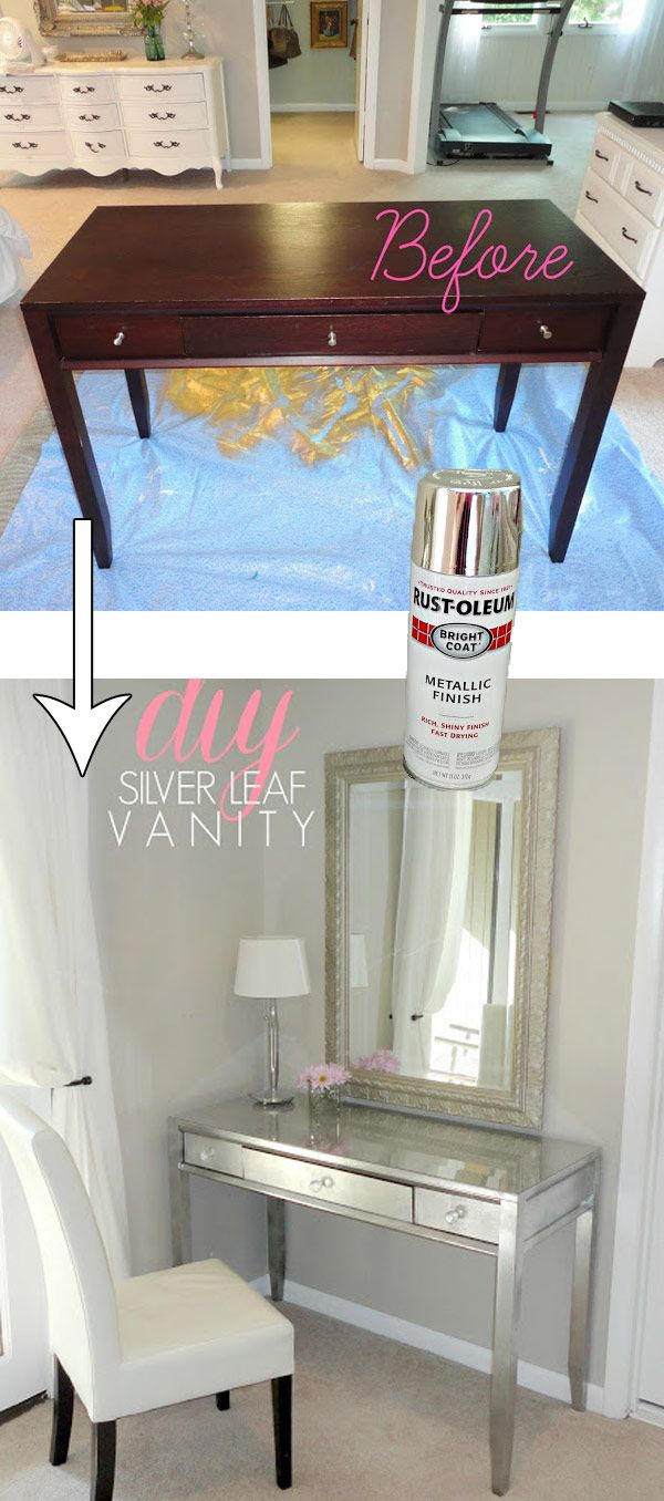 Use Spray Paint and Silver Leaf to Change an Old Thrift Store Desk.