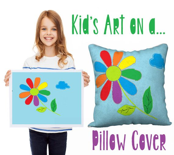 Children's art transferred onto a pillow cover, kids pillows, Christmas gift, kids art into gifts, children's drawing