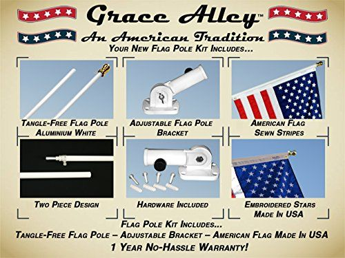 Flag Pole Kit: Includes Tangle Free Flagpole – Flag Pole Bracket and American Flag Made in USA – Free Shipping with Amazon Prime. Best Tangle Free Flagpole Kit on Amazon! Flag Pole Kit for House or Commercial. Wind Resistant – Rust Free.  Flag Pole Kit: Outdoor Flag Pole Kit includes US Flag Made in USA Embroidered Stars and Sewn Stripes, Flagpole and Flagpole bracket. Best Tangle Free Spinning Flagpole on Amazon! Residential or Commercial. White Aluminum Flag Pole Kit. Wind Resistan..