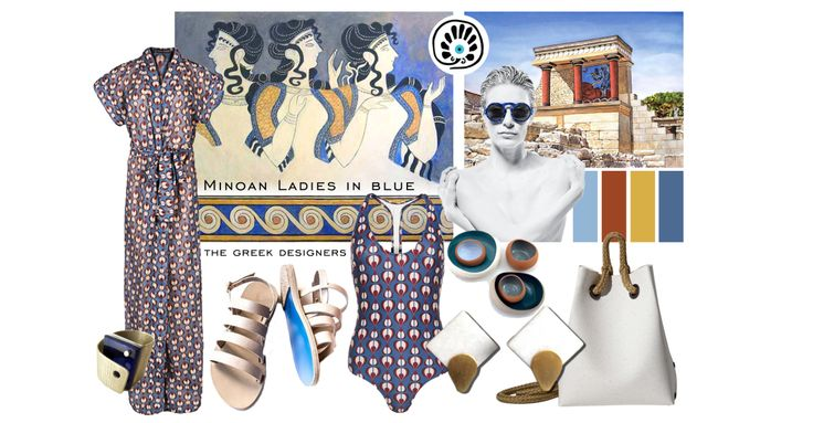 MINOAN LADIES IN BLUE | MOODBOARD | The moodboard draws inspiration from the Cretan women and the frescoes of Minos palace. The Minoan civilization was a Bronze Age civilization that arose on the island of Crete and flourished from about the 27th–15th century BC.  In Ladies in Blue, fresco of Minoan women, aged 1600 BC, it is very evident that women's dress played a great part in Minoan civilization. Read more >> https://thegreekdesigners.com/2016/05/31/minoan-ladies-in-blue-moodboard/
