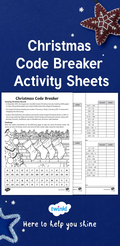 Christmas Maths Code Breaker Differentiated Worksheets Christmas Math Project Christmas Math Holiday Math
