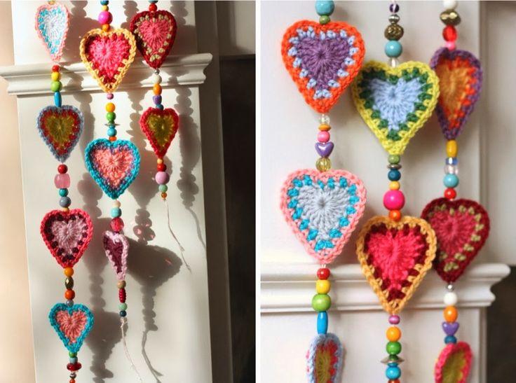 Gorgeous #crochet boho pendants by @Sandra Pendle Pendle Pendle (Cherry Heart)