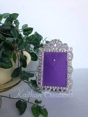 Photo frame jewelry holders can be used to hold your earrings or rings. Before going to bed, hang them on your holder for safe keeping. Fabric available in numerous colors (photographed in lavender). Visit my Facebook page to place your order. https://www.facebook.com/kaithancreations/photos/a.261737487359339.1073741839.216663808533374/483447298521689/?type=3