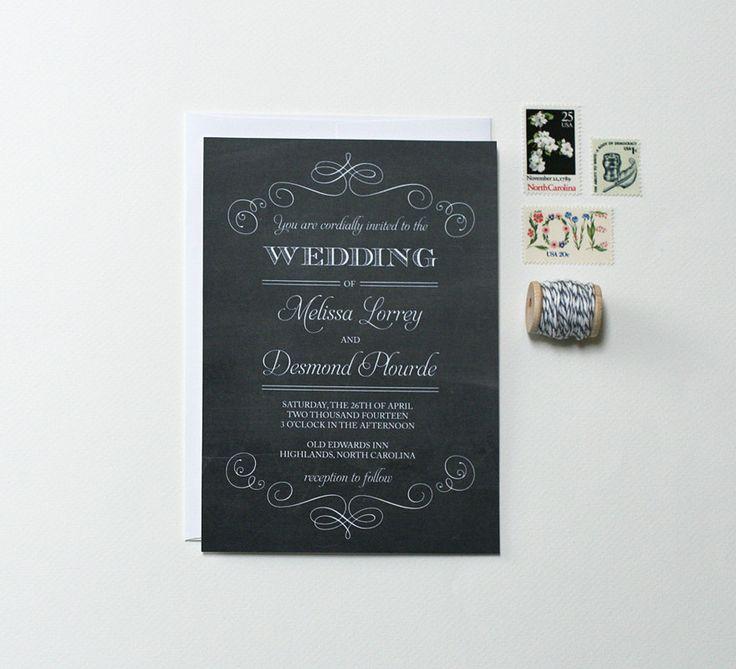 Chalkboard Wedding Invitations Vintage by CraftyPiePress on Etsy, $3.00