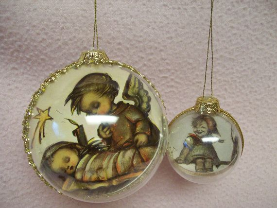 Hummel Christmas Ornaments Lot of 2 Large and Small Clear Plastic ...