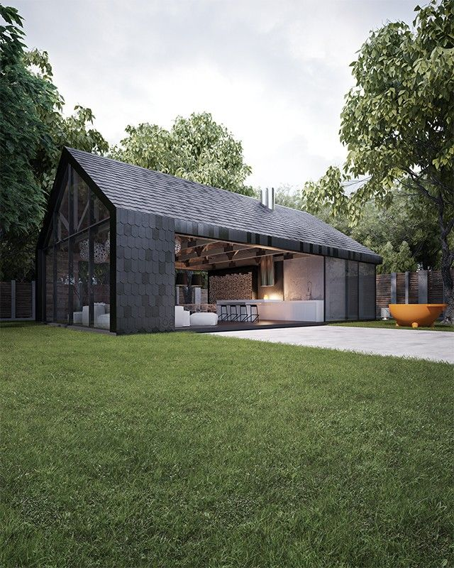 Black contemporary barn