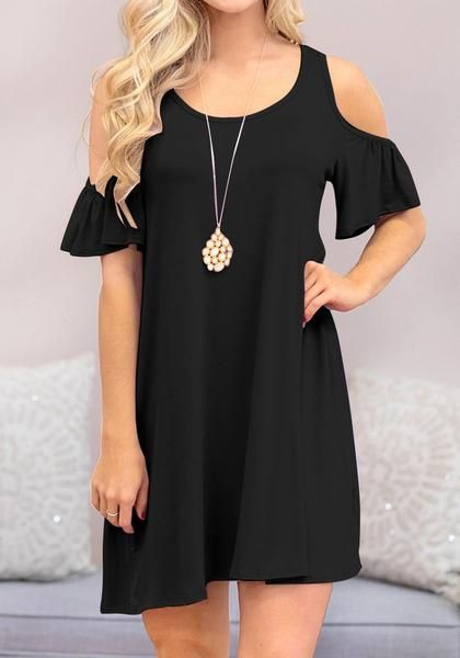 Get that simple yet definitely stunning look when you wear this black half sleeves cold-shoulder shift dress.