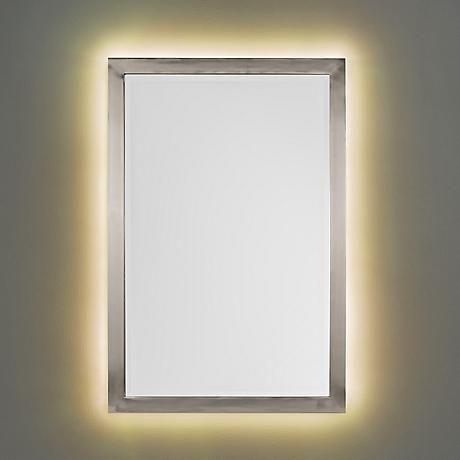 Possini Euro Metzeo Brushed Nickel Mirror with LED Light Kit
