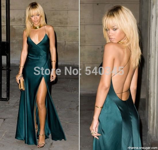 Celebrity Dresses Dark Green Dress at Grammy Awards Red Carpet Dress 2014 evening gowns backless Evening dresses