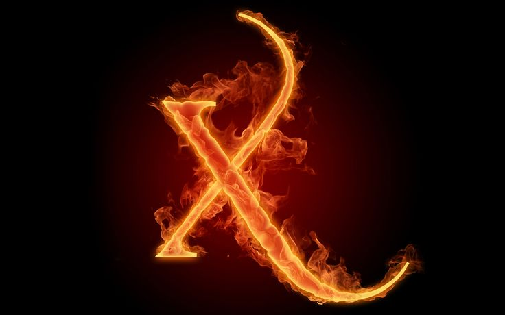 The fiery English alphabet picture X