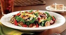 Cracker Barrel's Grilled Chicken n' Strawberry Salad - grilled chicken tenderloins and fresh baby spinach tossed with fresh strawberries, Gala apples, chopped almonds, hickory-smoked bacon, red onions, blue cheese crumbles and Country Pepper Vinaigrette - definitely going to re-create this salad come summer!