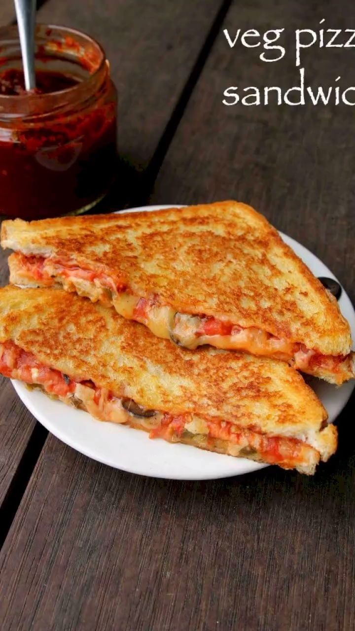 pizza sandwich recipe | grilled veg pizza sandwich | pizza sandwiches