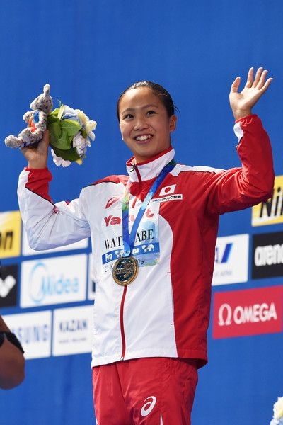 Gold medalist Kanako Watanabe of Japan poses during the medal ceremony for the Women's 200m Breaststroke on day fourteen of the 16th FINA World Championships at the Kazan Arena on August 7, 2015 in Kazan, Russia.