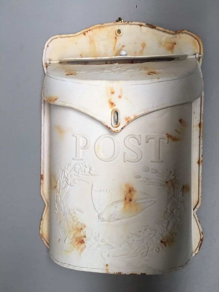 Metal Mail Box Decorative Chic French Country Farmhouse Shabby Cottage Ivory NEW  | eBay