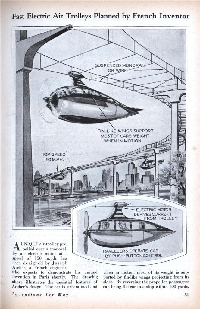 Fast Electric Air Trolleys Planned by French Inventor (May, 1930)