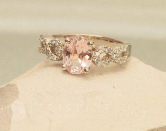 Rosa melocotón zafiro rosa oro anillo de por PristineJewelry