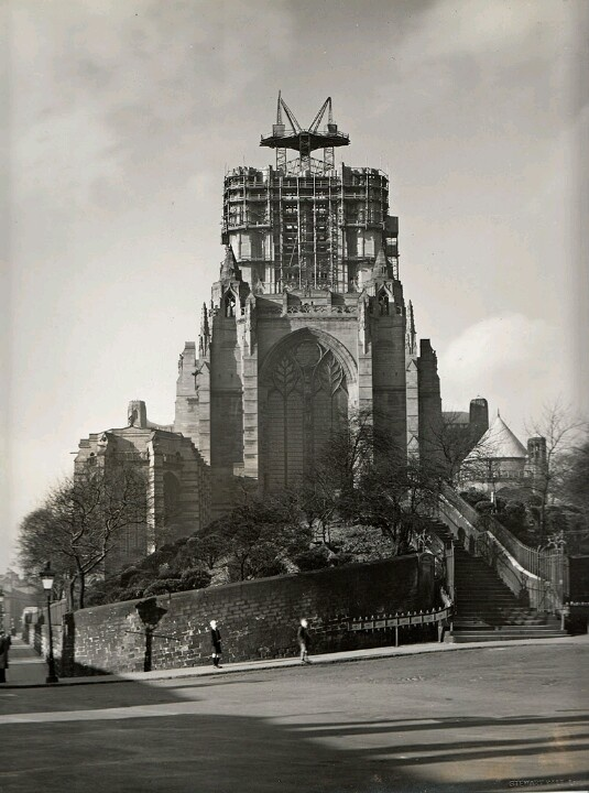 Liverpool cathedral being built - I love how different the approach used to be.