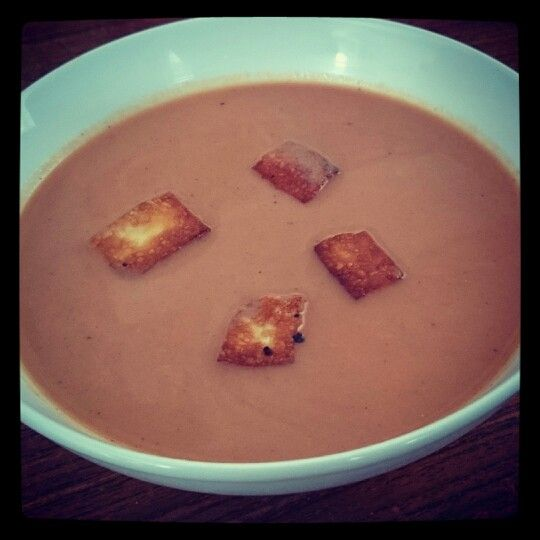 Guernsey girl croutons floating in my tomato soup