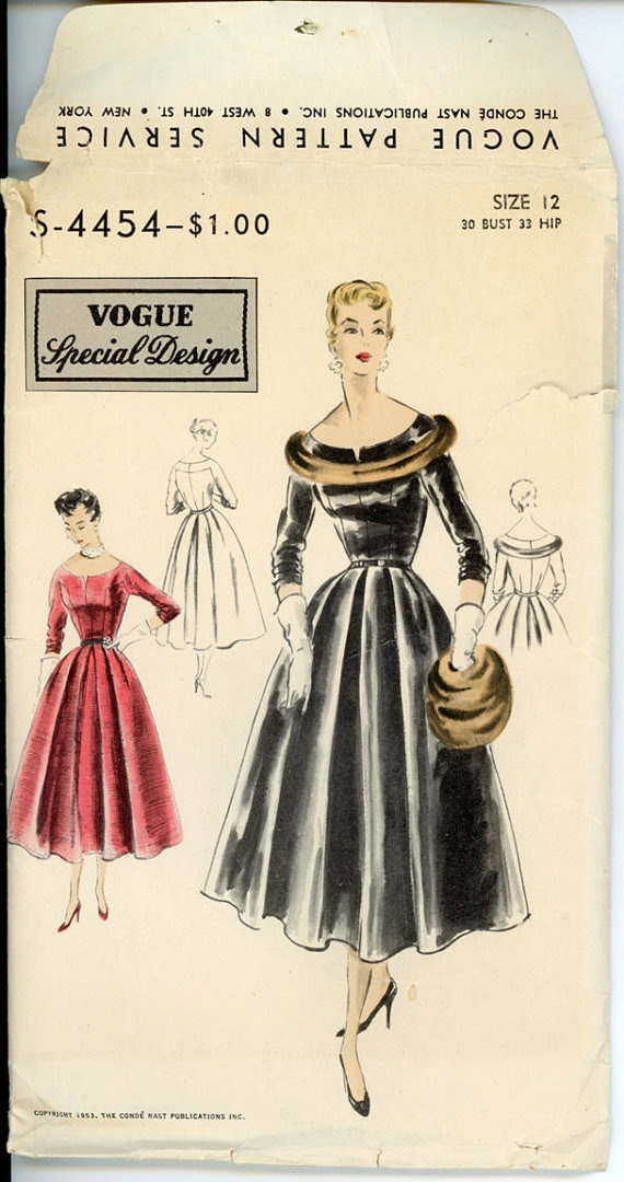 Vogue S 4454 Misses 1950s Evening Dress Pattern (adore the fur trim on the collar!). #vintage #1950s #dresses #sewing_patterns