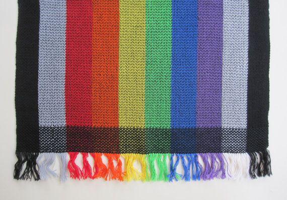 Handwoven Rainbow Stripe Table Runner by HandwovensForYou on Etsy, $50.00