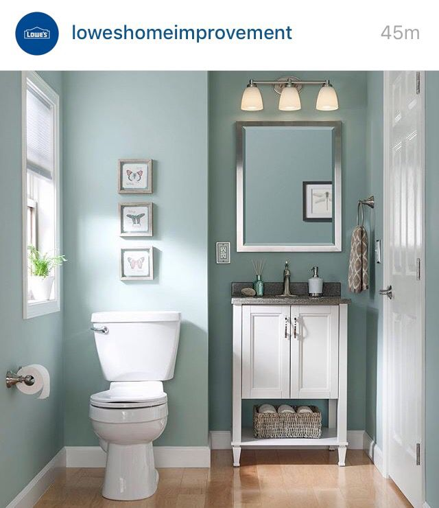 Sherwin Williams Worn Turquoise. Just the vanity and mirror, not the pictures etc. Small space compact vanity