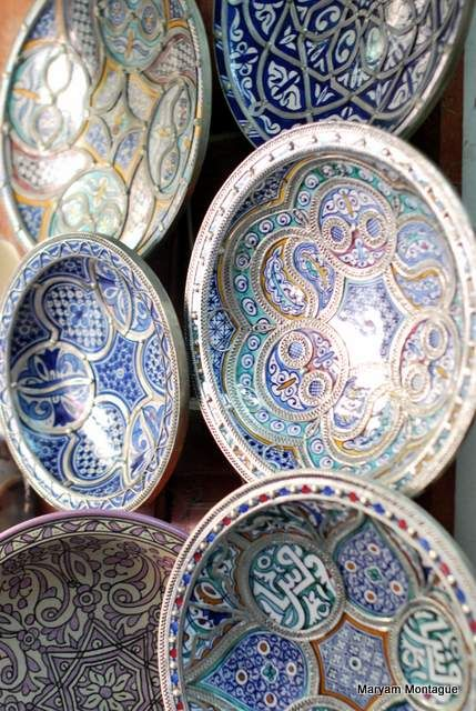 exquisite vintage moroccan bowls with beautiful blues, gorgeous color and design.