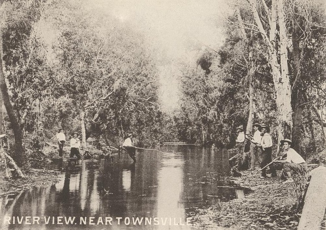 Fishing in the river near Townsville, ca. 1900 by State Library of Queensland, Australia, via Flickr