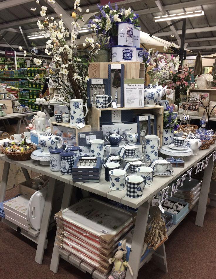 Vintage indigo spring theme display • Gift Department • 2017 • Squires Garden Centre @ Reigate