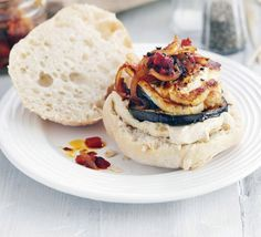 Halloumi aubergine burgers with harissa relish. A veggie stack with a difference - flavour your fried cheese with Moroccan harissa paste and creamy houmous