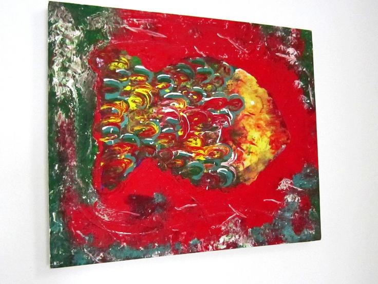 """farbenfroher Fisch (""""Lö"""") Acryl auf Leinwand rot-7grün/türkis/gelb"""