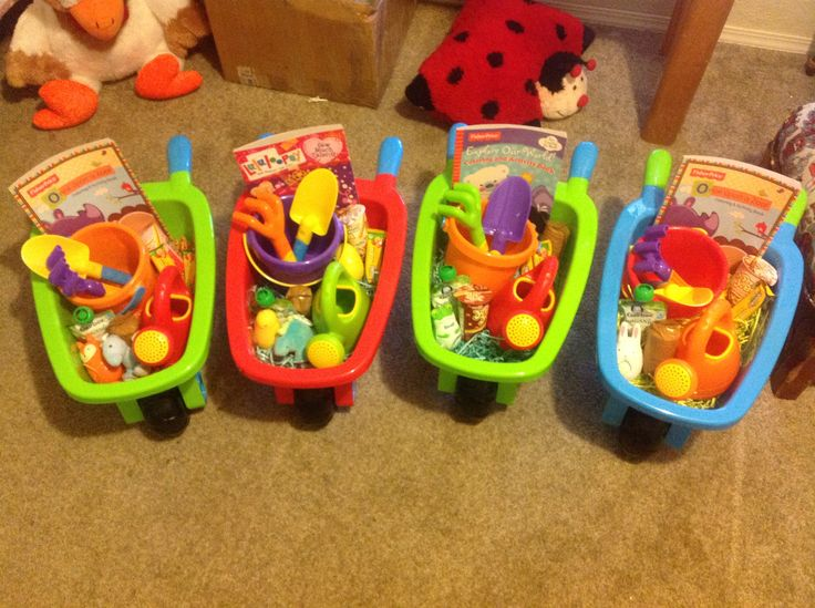 Easter barrows for toddlers. They have real baskets too for the egg hunt. Costco has them! Choco bunny is in the eggs.