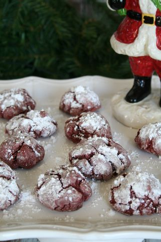 Soft Red Velvet Crinkle Cookies