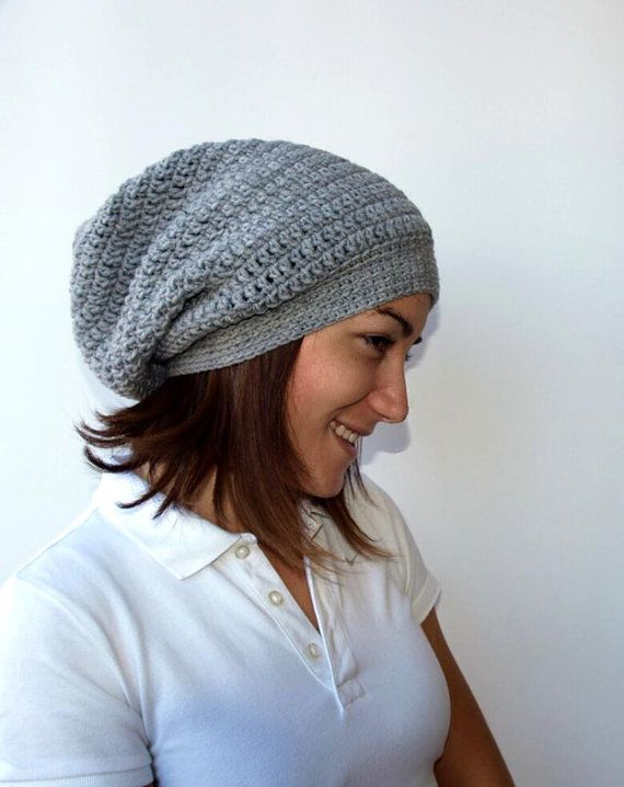 Gray Slouchy Hat Crochet Hat Womens Slouchy Hat in by PepperKnit