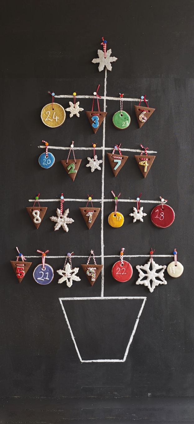 This versatile biscuit dough can be baked into any shape- we create an edible Advent calendar from bunting, snowflake and bauble cookies